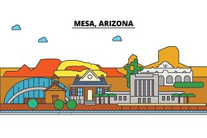 Mesa, Arizona. City skyline architecture, buildings, streets, silhouette, landscape, panorama, landmarks. Editable strokes. Flat design line vector illustration concept. Isolated icons