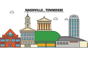 Nashville, Tennessee. City skyline architecture, buildings, streets, silhouette, landscape, panorama, landmarks. Editable strokes. Flat design line vector illustration concept. Isolated icons