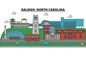 Raleigh, North Carolina. City skyline architecture, buildings, streets, silhouette, landscape, panorama, landmarks. Editable strokes. Flat design line vector illustration concept. Isolated icons