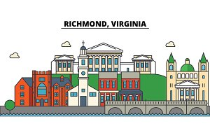 Richmond, Virginia. City skyline architecture, buildings, streets, silhouette, landscape, panorama, landmarks. Editable strokes. Flat design line vector illustration concept. Isolated icons