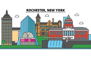 Rochester, New York. City skyline architecture, buildings, streets, silhouette, landscape, panorama, landmarks. Editable strokes. Flat design line vector illustration concept. Isolated icons