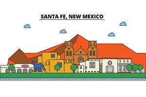 Santa Fe, New Mexico. City skyline architecture, buildings, streets, silhouette, landscape, panorama, landmarks. Editable strokes. Flat design line vector illustration concept. Isolated icons