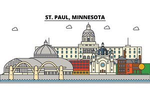 St. Paul, Minnesota. City skyline architecture, buildings, streets, silhouette, landscape, panorama, landmarks. Editable strokes. Flat design line vector illustration concept. Isolated icons