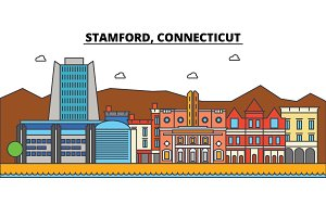 Stamford, Connecticut. City skyline architecture, buildings, streets, silhouette, landscape, panorama, landmarks. Editable strokes. Flat design line vector illustration concept. Isolated icons