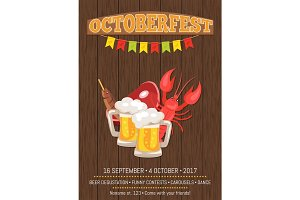 Octoberfest Poster with Dark Wooden Background