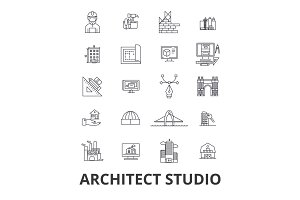 Architect studio, house plan, building, construction, design, architecture line icons. Editable strokes. Flat design vector illustration symbol concept. Linear isolated signs