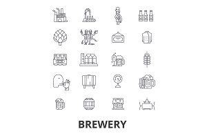 brewery, beer tap, pub,  winery, distillery, keg, brewing, hops, alchocol line icons. Editable strokes. Flat design vector illustration symbol concept. Linear isolated signs