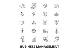 Business management, marketing, plan, manager, organization, meeting, project line icons. Editable strokes. Flat design vector illustration symbol concept. Linear isolated signs