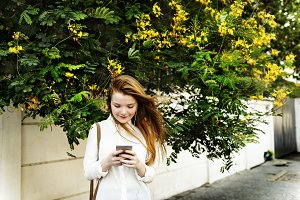 Casual Cheerful Girl Alone