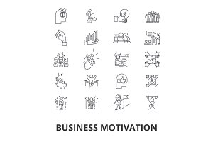 Business motivation, personal, inspiration, success, goal, motivational people line icons. Editable strokes. Flat design vector illustration symbol concept. Linear isolated signs