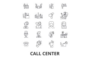 Call center, customer service, agent, client help, operator, support, contact us line icons. Editable strokes. Flat design vector illustration symbol concept. Linear isolated signs