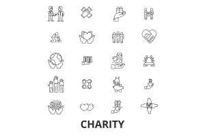 Charity, donation, volunteer, fundraising, philanthropy, helping hands line icons. Editable strokes. Flat design vector illustration symbol concept. Linear isolated signs