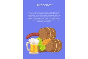 Oktoberfest or Octoberfest Poster Vector Illustration