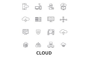 Cloud technology, internet, web, system administration, hosting line icons. Editable strokes. Flat design vector illustration symbol concept. Linear isolated signs