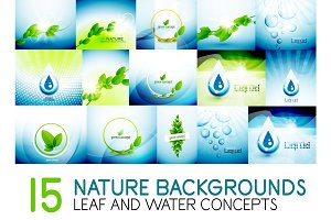 Mega collection of nature leaves and water concept backgrounds