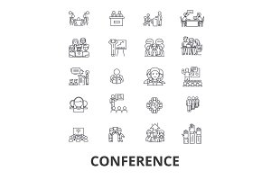 Conference, presentation, meeting, business discussion, teamwork, management line icons. Editable strokes. Flat design vector illustration symbol concept. Linear isolated signs