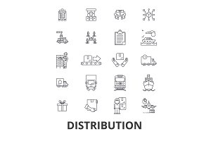 Distribution, delivery, sales system, retail, transportation, commerce, shipping line icons. Editable strokes. Flat design vector illustration symbol concept. Linear isolated signs
