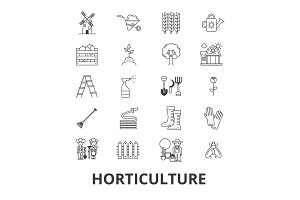 Horticulture, garden, plant, agriculture, farm, cultivation, harvest line icons. Editable strokes. Flat design vector illustration symbol concept. Linear isolated signs