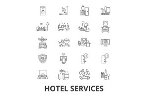 Hotel services, room service, tourism, receptionist line icons. Editable strokes. Flat design vector illustration symbol concept. Linear isolated signs