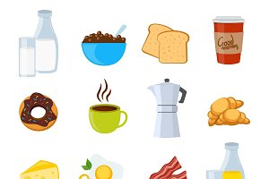 Breakfast Flat Icons Set