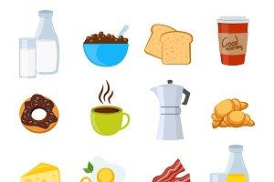 Breakfast Flat Icons Set