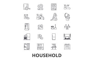 Household, equipment, cleaning, home, house, machine, appliances line icons. Editable strokes. Flat design vector illustration symbol concept. Linear isolated signs
