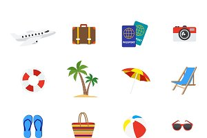 Travel Decorative Flat Icons Set
