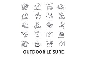 Outdoor leisure, vacaton, activity, hobby, lifestyle, travel line icons. Editable strokes. Flat design vector illustration symbol concept. Linear isolated signs