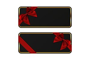 Two black banners. Gift card templates with red ribbon.