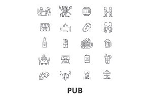 Pub, bar, beer, alchocol party, brewery, club line icons. Editable strokes. Flat design vector illustration symbol concept. Linear isolated signs