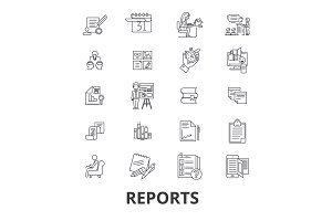 Reports, documents, analytics, paper, data management, news, charts line icons. Editable strokes. Flat design vector illustration symbol concept. Linear isolated signs