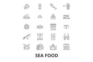 Sea food, fish, crab, lobster, prawns, salmon, restaurant line icons. Editable strokes. Flat design vector illustration symbol concept. Linear isolated signs