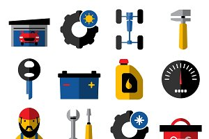 Car Service Flat Icons Set