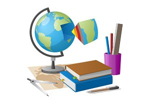 Geography Lesson Related Elements Cartoon Globe