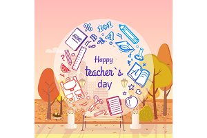 Happy Teachers Day Autumn Vector Illustration