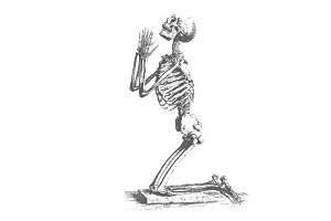 Praying Skeleton Vector