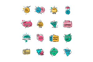 Sale with Special Offer and Hot Prices Icons Set