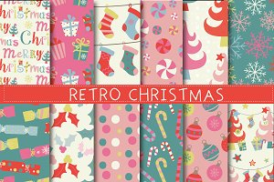 Retro Merry Christmas Papers
