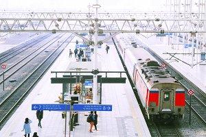 Railway platform in Seoul