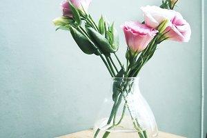 Fresh pink Lisianthus flowers
