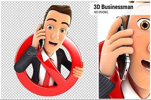 3D Businessman No Phone