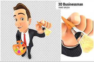 3D Businessman with Color Palette