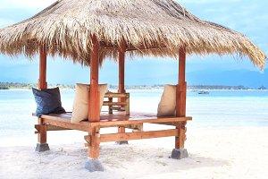 Wooden terrace on the beach. Gili.