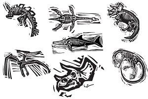 Woodcut Dinosaur Fossils
