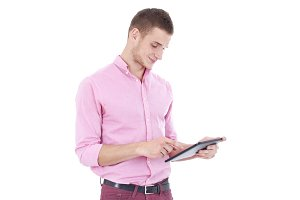 Happy Young Man Using Digital Tablet Isolated