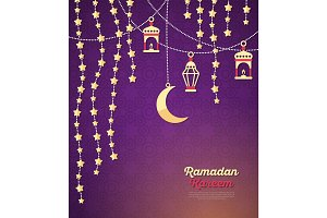 Ramadan Kareem concept with Crescent and stars