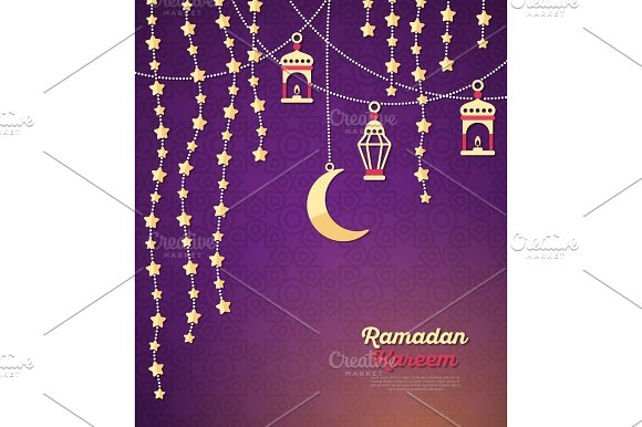 Ramadan Kareem Concept With Crescent And Stars