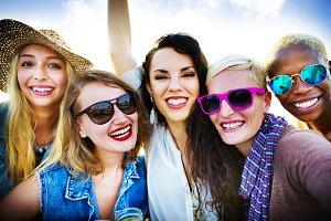 Girls Friendship Smiling Summer