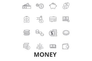 Money, coins, dollar, finance, cash, piggy bank, finance, stack, savings line icons. Editable strokes. Flat design vector illustration symbol concept. Linear signs isolated