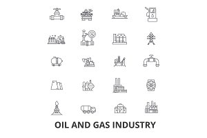 Oil and gas industry, rig, platform, exploration, refinery, energy, industrial line icons. Editable strokes. Flat design vector illustration symbol concept. Linear signs isolated